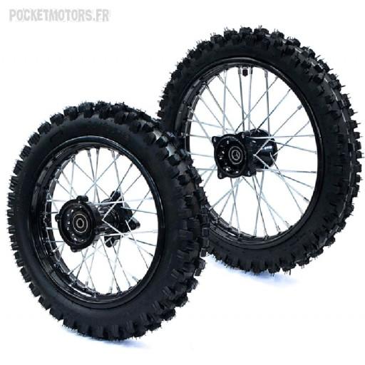 Roue avant 17 pouces et arrière 14 pouces, moyeu Racing, axe de roue 15mm, Dirt bike Pit bike